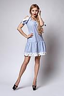 Летнее женское платье с открытыми плечами украшено кружевом, фото 1