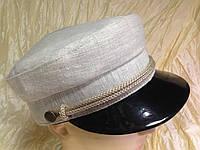 Льняная женская кепка - картуз цвет бежевый