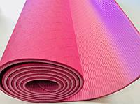 Йогамат из каучука двуслойный армированный розовый/светло розовый 173 х 61 х 0,7 см, фото 1