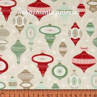 Ткань для пэчворка - Елочные игрушки, Кремовый, Новогодняя Ель, Новый Год и Рождество