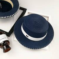 Шляпа женская летняя канотье в стиле Maison Michel с бусинами синяя