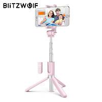 Селфи-стик, монопод Blitzwolf BW-BS3 Pink с Bluetooth управлением, фото 1