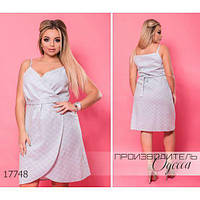 Платье женское большого размера летнее 5954-1 с имитацией на запах R-17748 светло-серый