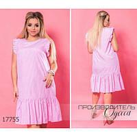Платье женское большого размера летнее-миди 5963-1 прямого кроя R-17755 розовый