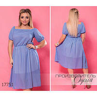 Платье женское большого размера летнее 5959-1 шифоновое с короткими рукавами R-17751 голубой