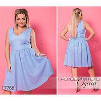 Платье женское большого размера летнее 5949-1 из органзы R-17766 голубой