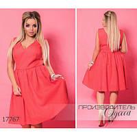 Платье женское большого размера летнее 5949-1 из органзы R-17767 красный