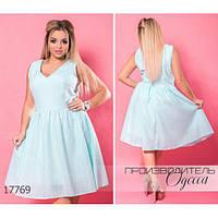 Платье женское большого размера летнее 5949-1 из органзы R-17769 ментоловый