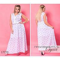 Платье женское большого размера летнее 584 длинное шифоновое с рисунком R-17770 белый