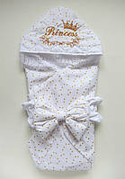 """Летний конверт-одеяло на выписку """"Королевский"""" для девочки"""