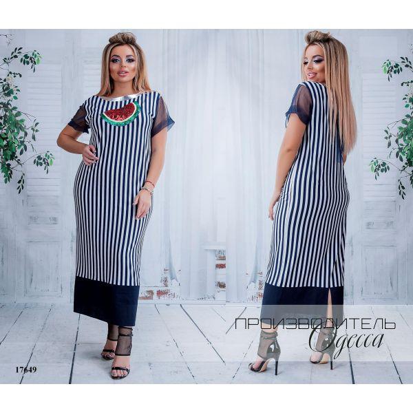 41853a3255b Платье женское большого размера летнее 821-ин17л в полоску украшено  пайетками R-17649 черный