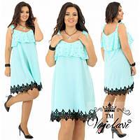 Платье женское большого размера летнее украшено кружевом и жемчугом АК-616 мятный