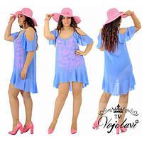 Платье женское большого размера летнее пляжное с воланами на рукавах АК-601 джинсовый