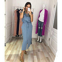 Платье женское большого размера летнее льняное длинное с карманами KR-359.1 голубой