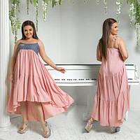 Платье женское большого размера летнее асимметричное отрезное комбинированное АПП-5981-1 персиковый