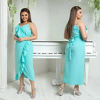 Платье женское большого размера летнее с имитацией на запах АПП-5987-1 бирюзовый