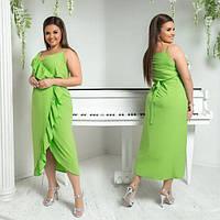 Платье женское большого размера летнее с имитацией на запах АПП-5987-1 салатовый
