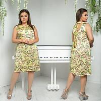 Платье женское большого размера летнее с принтом прямого кроя сзади на завязке АПП-5986-1 желтый