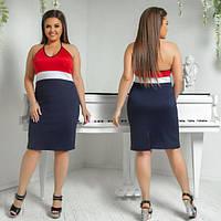 Платье женское большого размера летнее-майка облегающее АПП-5982-1 красный+черный