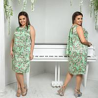 Платье женское большого размера летнее с принтом прямого кроя сзади на завязке АПП-5986-1 зеленый
