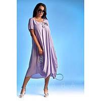 Платье женское большого размера летнее свободного кроя с декором СИ-697 сиреневый