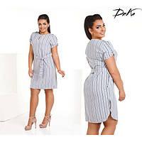 Платье женское большого размера летнее в полоску с поясом G-ат 293 серый