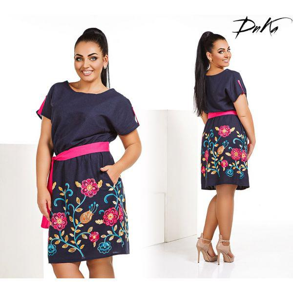 Платье женское большого размера летнее льняное украшено вышивкой G-д4121 темно-синий