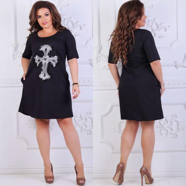 Платье женское большого размера летнее прямого кроя с рисунком РО-5112 черный