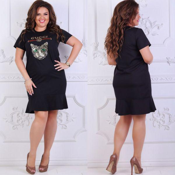 Платье женское большого размера летнее украшено пайеткой РО-5111 черный