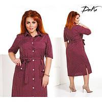 Платье женское большого размера летнее-рубашка в горох с накладными карманами G-с492 бордовый