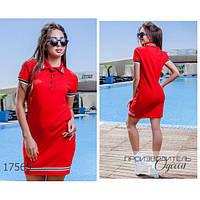 Платье женское большого размера летнее 114 в спортивном стиле короткое с отложным воротником R-17565 красный