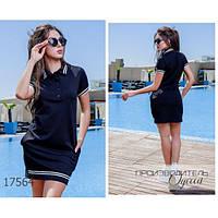 Платье женское большого размера летнее 114 в спортивном стиле короткое с отложным воротником R-17564 черный
