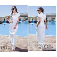 Платье женское большого размера летнее 112 в спортивном стиле длинное R-17561 белый