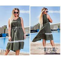 Платье женское большого размера летнее 0172 льняное со вставкой из кружева R-17472 хаки