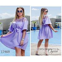 Платье женское большого размера летнее 1213 льняное с сеткой R-17469 фиолетовый