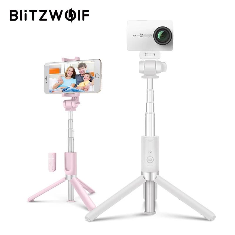 Селфи-стик 4 в 1, монопод Blitzwolf BW-BS3 Sport White с Bluetooth управлением + крепление для экшн-камер