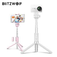 Селфи-стик 4 в 1, монопод Blitzwolf BW-BS3 Sport White с Bluetooth управлением + крепление для экшн-камер, фото 1