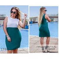Платье женское большого размера летнее М104 летнее короткое без рукавов R-17445 зеленый