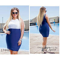 Платье женское большого размера летнее М104 летнее короткое без рукавов R-17444 синий