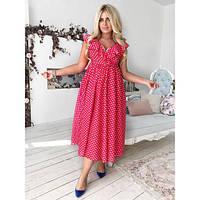 Платье женское большого размера летнее «Наташа Ростова» с одним вырезом от талии AV-1102.1 красный