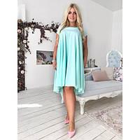 e22a76229d3 Платье женское большого размера летнее-трапеция асимметричного фасона  «Каскад» AV-1103 ментоловый
