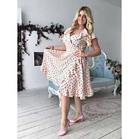 Платье женское большого размера летнее на запах с рюшами AV-1104 пудра