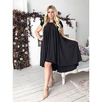 Платье женское большого размера летнее-трапеция асимметричного фасона «Каскад» AV-1103 черный