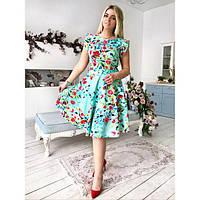 Платье женское большого размера летнее-клёш с рюшами на плечах AV-1068 голубой, фото 1