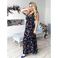 Платье женское большого размера летнее с декольте имитация фасона «на запах» AV-1069.1 темно-синий