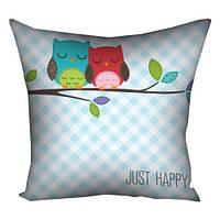 Подушка Счастливые совушки оригинальный прикольный необычный подарок любимому любимой