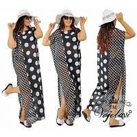 Платье женское большого размера летнее пляжное в горох АК-599 черный