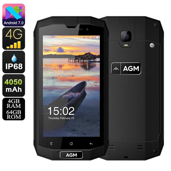 """Смартфон AGM A1Q 4/64Gb Black, 13/2Мп, 4 ядра, 2sim, IP68, экран 5"""" IPS, 4050mAh, 4G, Android 7.0, фото 1"""