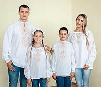 Комплект вишиванок для всієї родини (коричнева вишивка)