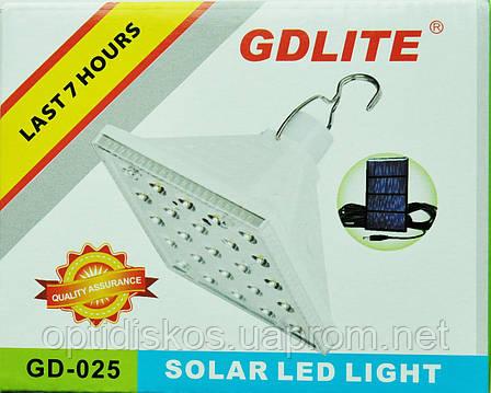 Светильник кемпинговый + зарядка от солнечной батареи Solar Led Light GR-025, фото 2